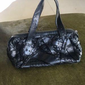 Bottega venata black stitched studded bag